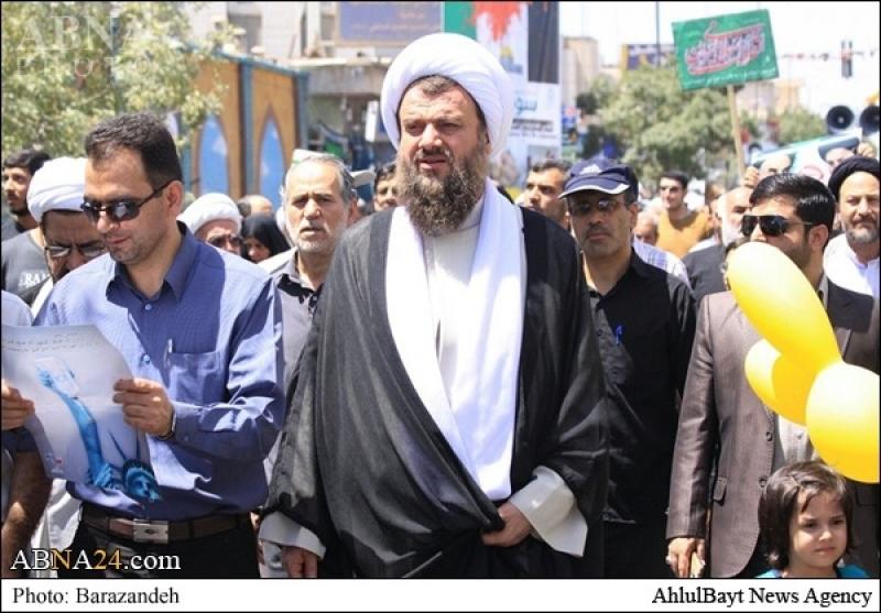 شرکت عضو شورای عالی مجمع جهانی اهلبیت(ع) در راهپیمایی روز قدس